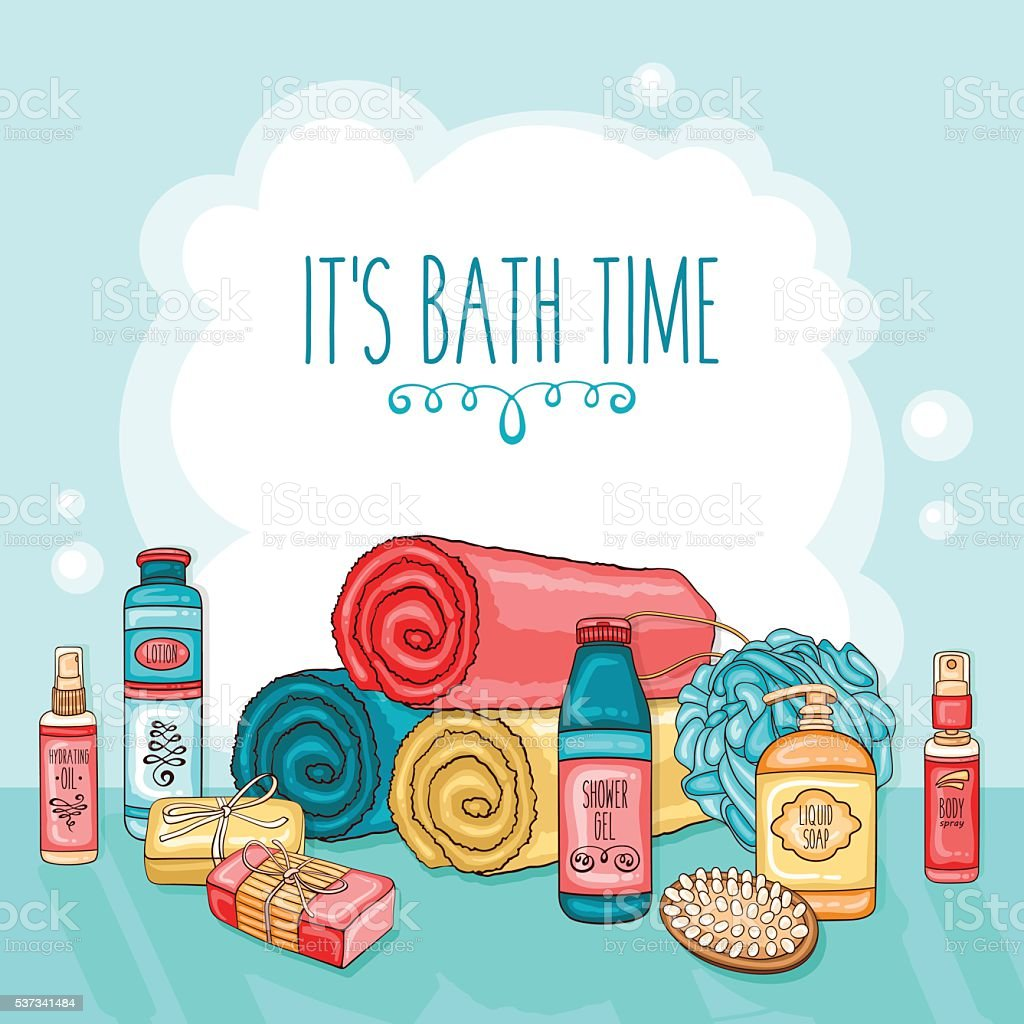 Hygiene background with bathroom equipment, towels and cosmetics vector art illustration