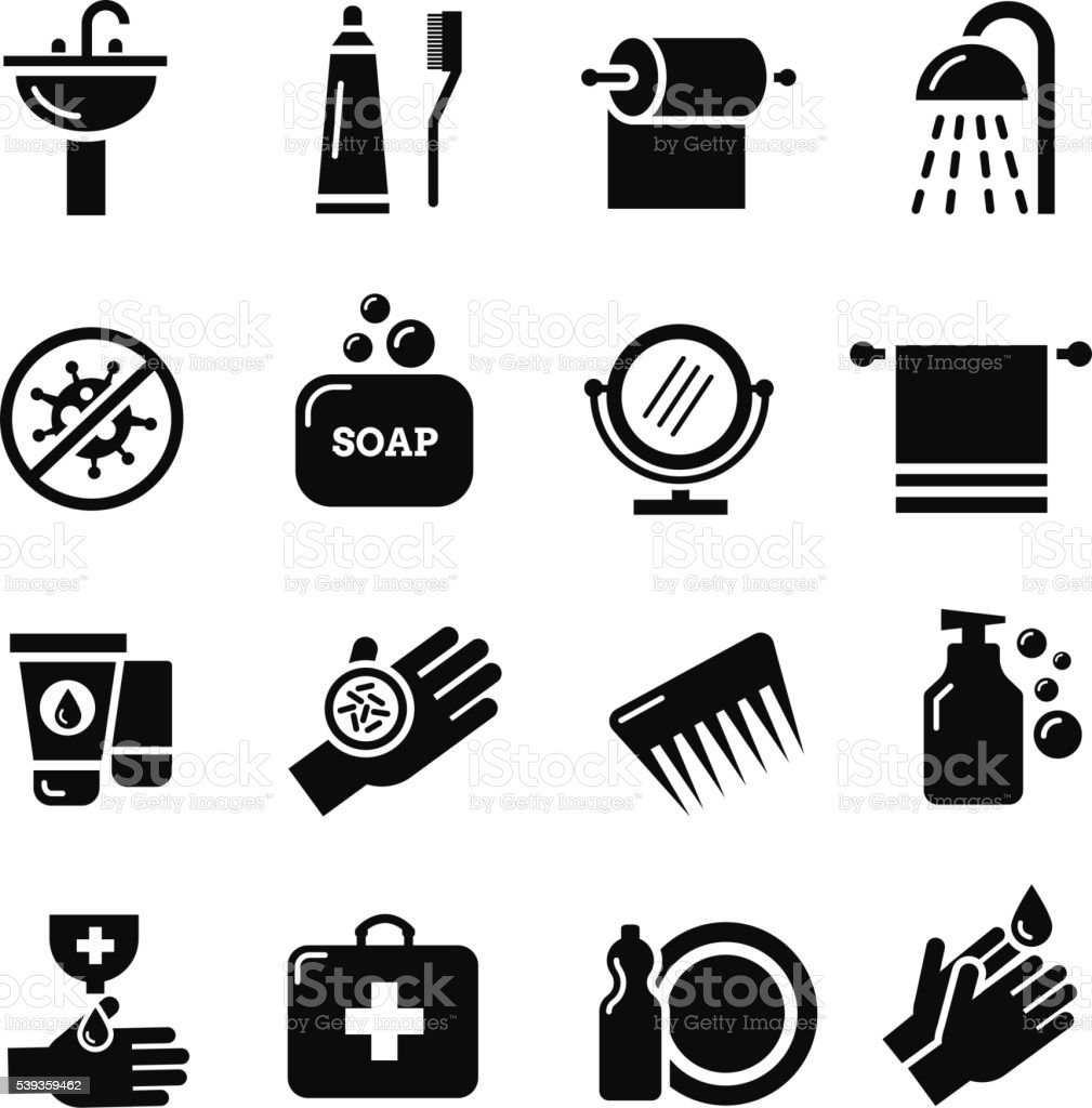 Hygiene, bacteria virus protection vector icons vector art illustration