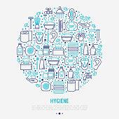 Hygiene concept in circle with thin line icons: hand soap, shower, bathtub, toothpaste, razor, shaving brush, sanitary napkin, comb, ball deodorant, mouth rinse. Vector illustration.
