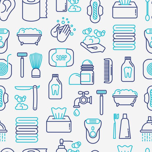 Hygiene concept seamless pattern with thin line icons: hand soap, shower, bathtub, toothpaste, razor, shaving brush, sanitary napkin, comb, ball deodorant, mouth rinse. Vector illustration. Hygiene concept seamless pattern with thin line icons: hand soap, shower, bathtub, toothpaste, razor, shaving brush, sanitary napkin, comb, ball deodorant, mouth rinse. Vector illustration. bathroom backgrounds stock illustrations