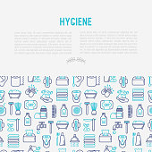 Hygiene concept with thin line icons: hand soap, shower, bathtub, toothpaste, razor, shaving brush, sanitary napkin, comb, ball deodorant, mouth rinse. Vector illustration for banner, web page, print media.