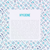 Hygiene concept with thin line icons: hand soap, shower, bathtub, toothpaste, razor, shaving brush, sanitary napkin, comb, ball deodorant, mouth rinse. Vector illustration for banner, web page.