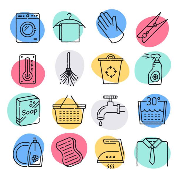 hygienekontrolle in der lebensmittelindustrie doodle style vector icon set - hände wasser waschen stock-grafiken, -clipart, -cartoons und -symbole