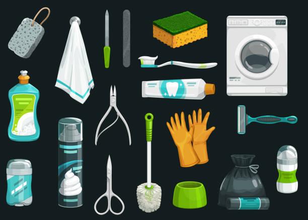 ilustrações de stock, clip art, desenhos animados e ícones de hygiene deodorant, towel, toothpaste, shaver icons - esponja