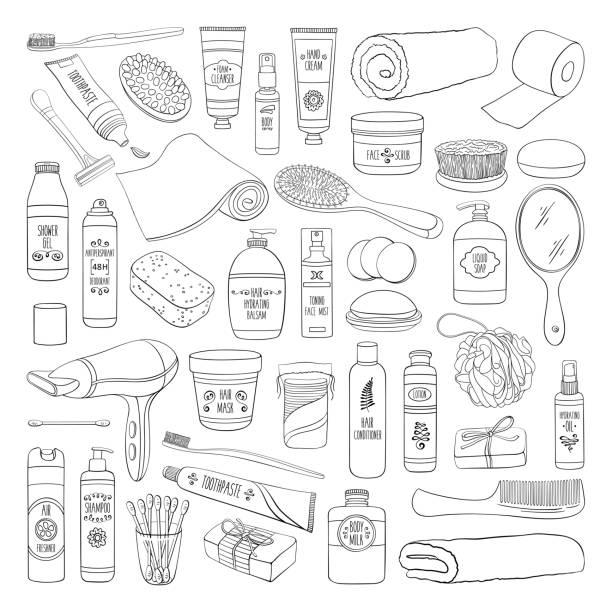 衛生落書き浴室装置、化粧品およびツールのセット - 体 洗う点のイラスト素材/クリップアート素材/マンガ素材/アイコン素材