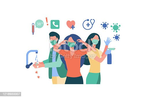 Hygiene during coronavirus epidemic. People in gloves and face masks, washing hands, cleaning surfaces with alcoholic sanitizers. Vector illustration for virus spread prevention, protection concept