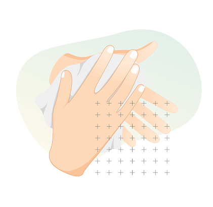 Hygiene - Hand wash and wipe with Towel - Stock Icon
