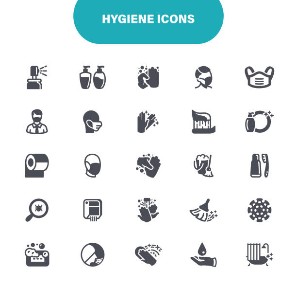 Hygiene Icons. In set icon as Hand Sanitizer, Face Mask, Sneeze, Illustration vector art illustration