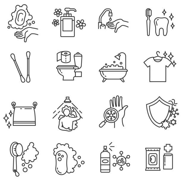 衛生圖示設置。可編輯筆劃 - 淋浴 幅插畫檔、美工圖案、卡通及圖標