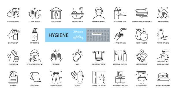 ilustrações, clipart, desenhos animados e ícones de ícones de higiene. conjunto de 29 imagens com traçado editável. inclui higiene das mãos, corpo, instalações, roupas, roupa de cama. lavar as mãos com sabão, chuveiro, máscara respiratória, antisséptico, quarentena, distância - higiene