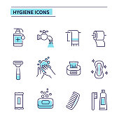 Hygiene icons. Line style vector illustration isolated on white background.