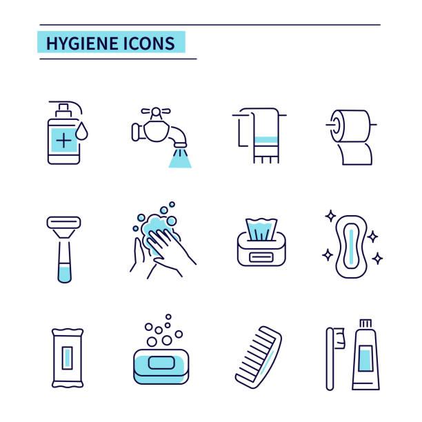 ilustrações, clipart, desenhos animados e ícones de ícones de higiene - higiene