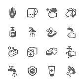 Simple Set of Hygiene Related Vector Icons for Your Design