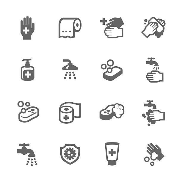 衛生アイコン - 体 洗う点のイラスト素材/クリップアート素材/マンガ素材/アイコン素材