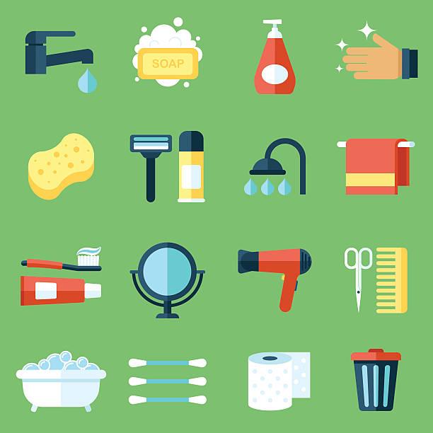 illustrazioni stock, clip art, cartoni animati e icone di tendenza di icone di igiene - prendersi cura del corpo