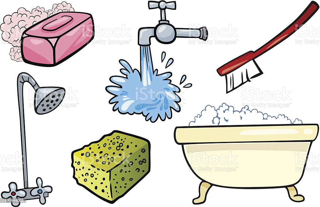 Hygiene Objekte Cartoon Illustrationset Stock Vektor Art Und Mehr