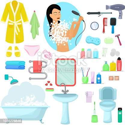 istock Hygiene personal care vector beautiful woman showering hygienic 1078776846