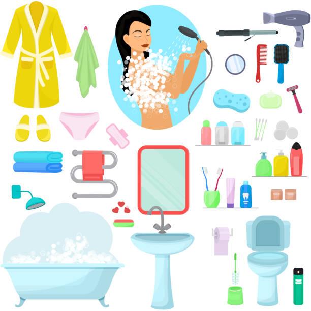 Hygiene personal care vector beautiful woman showering hygienic vector art illustration