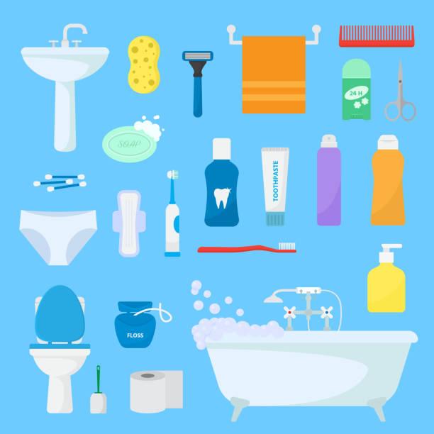 衛生的なバス用品の衛生パーソナルケア ベクトル バスアメニティ セットし、浴室のアクセサリ石鹸ボディケア アイコン イラスト背景に分離用シャンプーやシャワーのゲル - 体 洗う点のイラスト素材/クリップアート素材/マンガ素材/アイコン素材