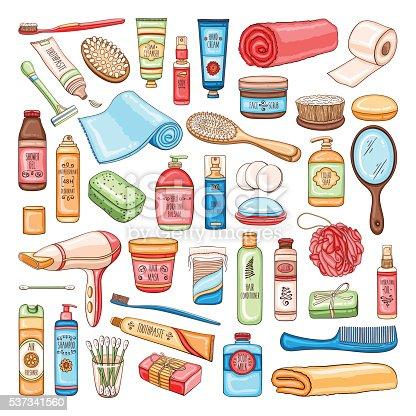 hygiene set of bathroom equipment cosmetics and tools stock vector art 537341560 istock