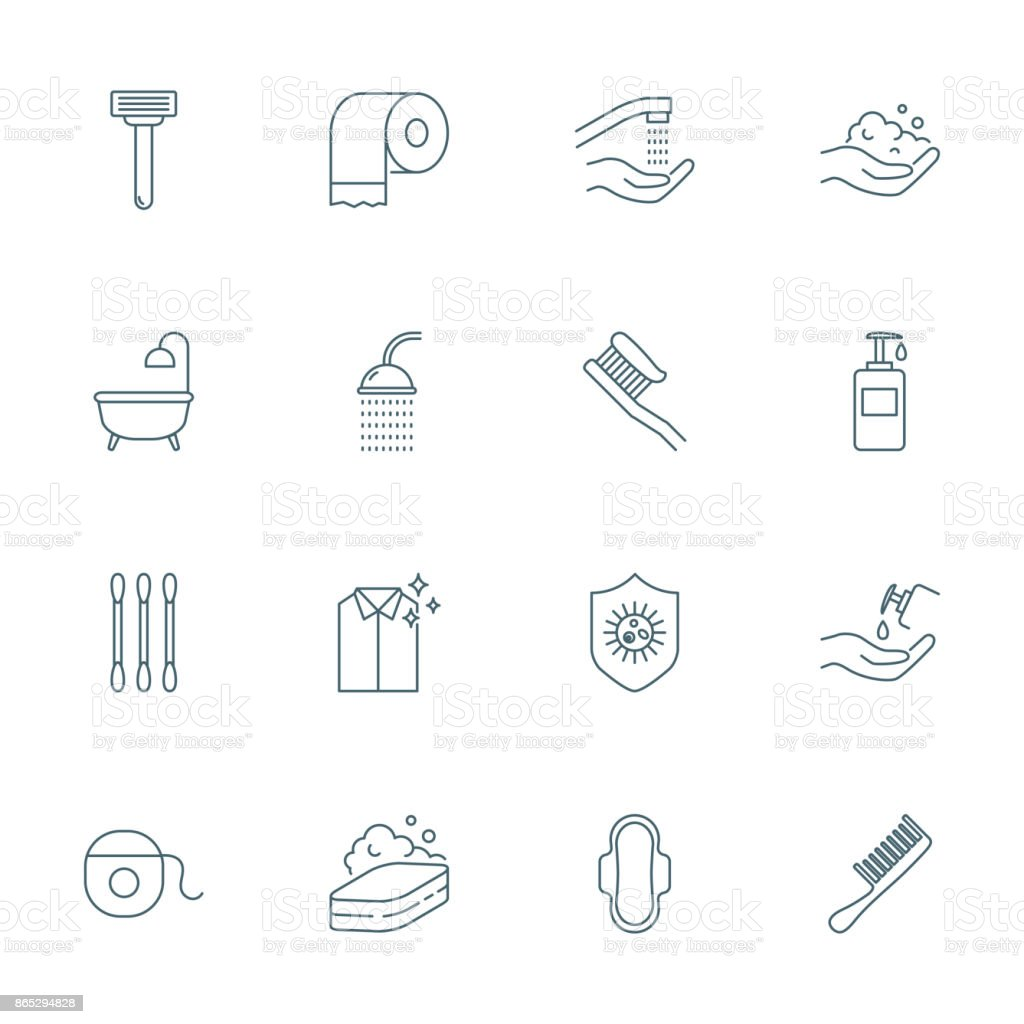 Hygiene set of vector icons vector art illustration