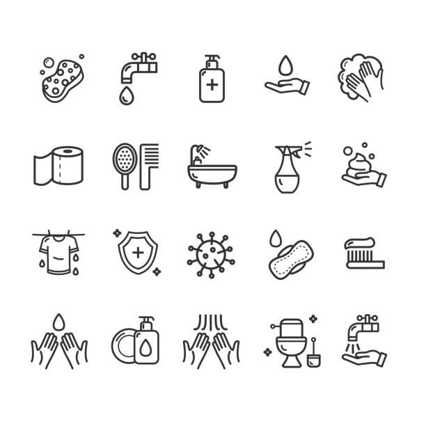 ilustrações de stock, clip art, desenhos animados e ícones de hygiene signs black thin line icon set. vector - esponja