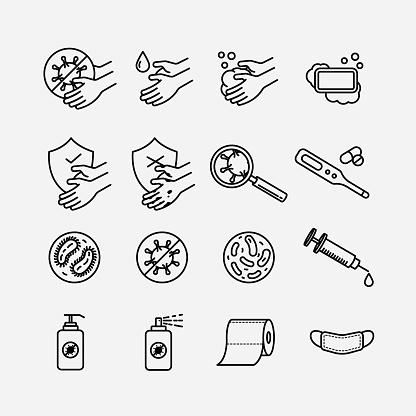 Hygiene theme line art icons