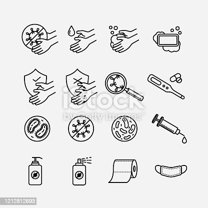 A set of hygiene theme simple line art icons isolated on white background