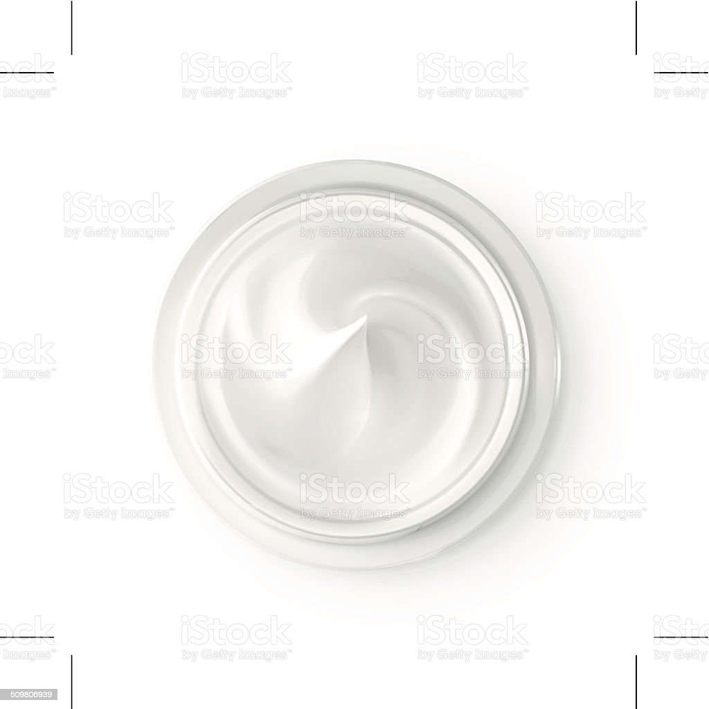 Hygienic cream, top view vector art illustration