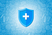 Immunity hygienic medical prevention blue shield protecting from virus germs and bacteria. Immune system concept. Microbiology and medicine flat vector illustration banner design