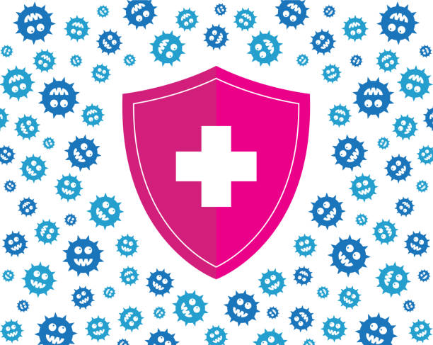 hygienic pink shield protecting from blue virus, germs and bacteria. flat style vector illustration. - flu shot stock illustrations