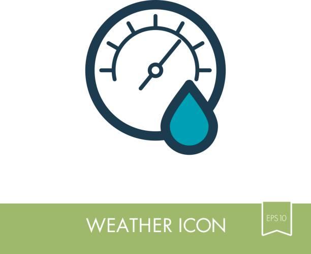 bildbanksillustrationer, clip art samt tecknat material och ikoner med hygrometer-ikonen. meteorologi. väder - barometer
