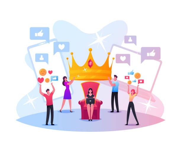 illustrations, cliparts, dessins animés et icônes de concept hype. de minuscules personnages masculins et féminins mettent la couronne royale énorme sur la tête de femme s'asseyant sur le trône. contenu des médias sociaux - crown