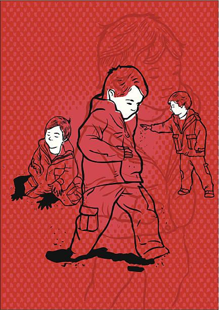 Autista hiperactivos y niño jugando solo - ilustración de arte vectorial