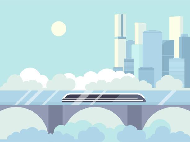 Hyperloop futuristic passenger train High speed futuristic train hyperloop multicolor dynamic future express high speed train stock illustrations