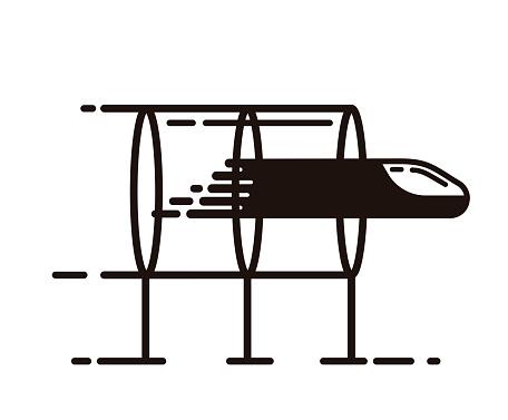 Hyperloop, transportation of the future. Vector icon design