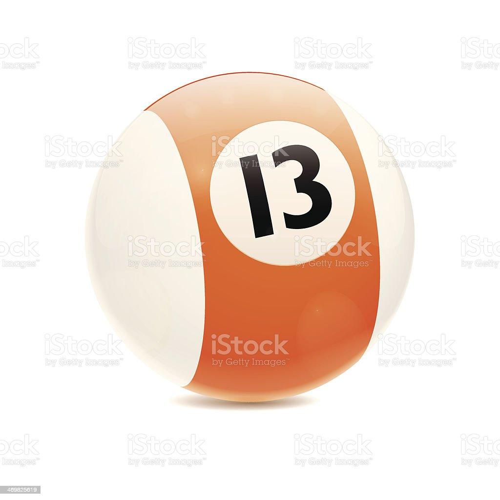 Hyperrealistic Billiard Ball Number 13 vector art illustration