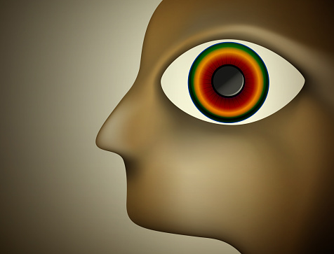 hypnosis concept, men profile with big colored eye inside,