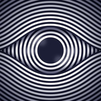 Hypnosis eye design line drawing design element.
