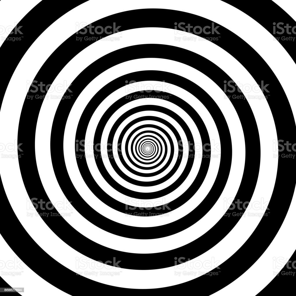 Hypnotic circles abstract white black optical illusion vector spiral swirl pattern background vector art illustration