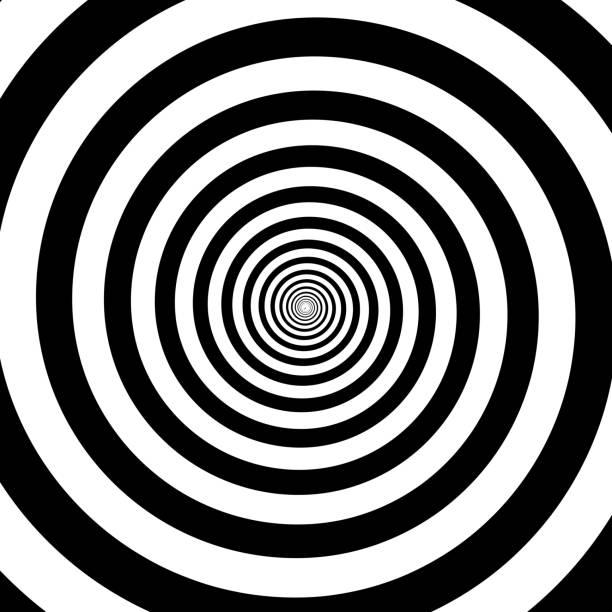 hypnotic circles abstract white black optical illusion vector spiral swirl pattern background - спираль stock illustrations