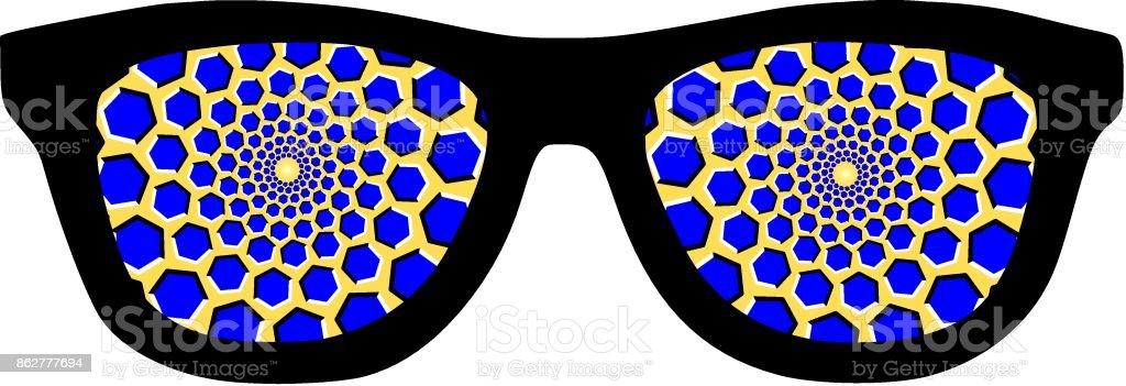 Hypnotic glasses optical illusion vector art illustration