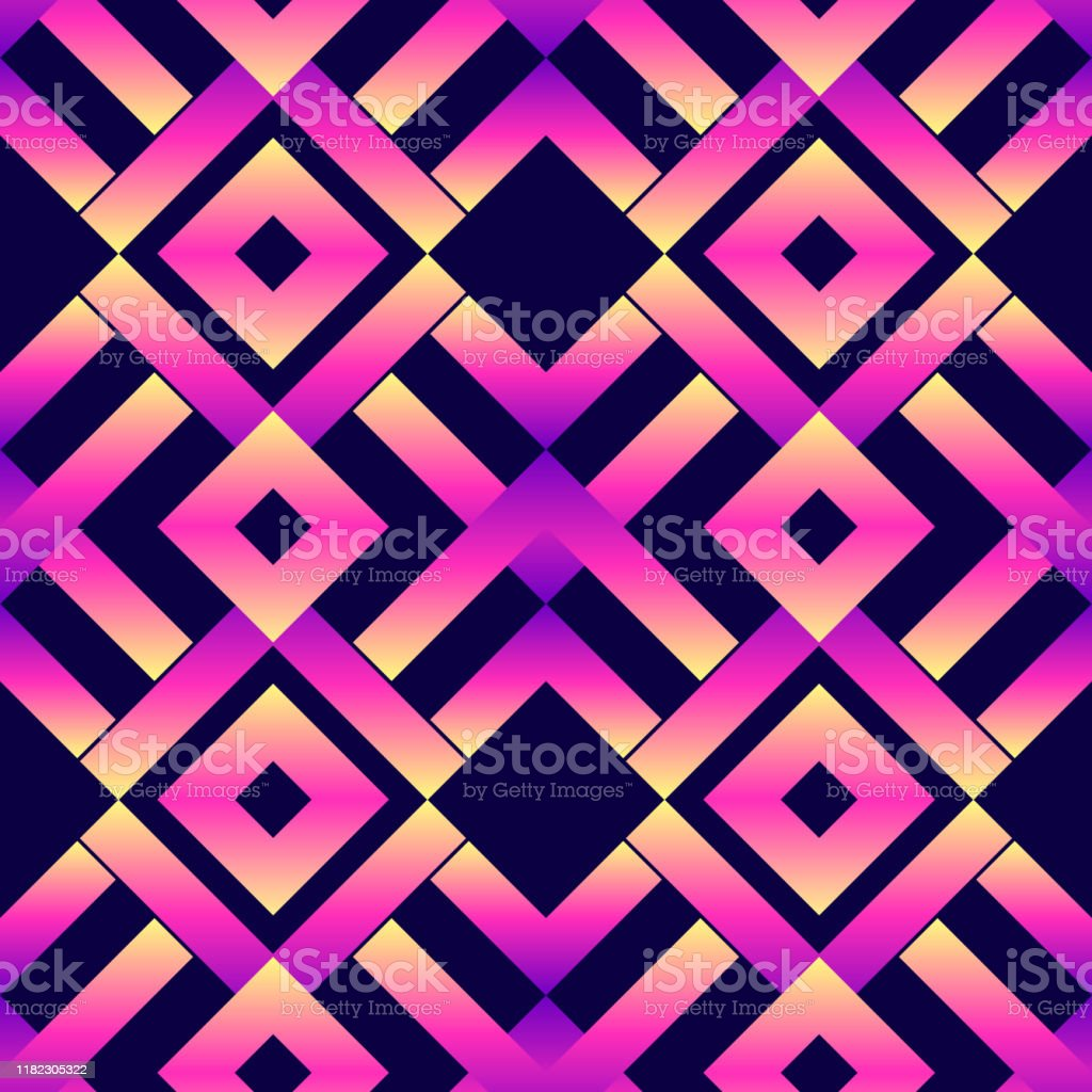 Hypnotic Seamless Pattern Neon Geometric Abstract Vector Wallpaper