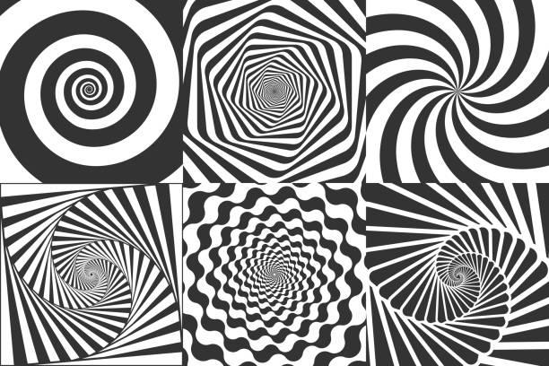 hypnotische spirale. wirbel hypnotize spiralen, vertigo geometrische illusion und rotierende streifen runden muster vektorillustration gesetzt - höhenangst stock-grafiken, -clipart, -cartoons und -symbole