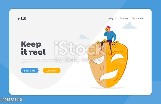 istock Hypocrisy Landing Page Template. Man Sit on Huge Mask with Smiling and Sad Parts, Cover Face under Masks Hiding Emotions 1263724110