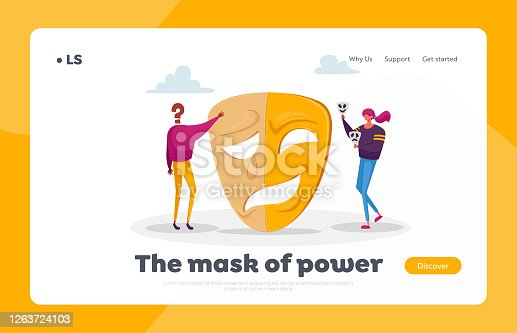 istock Hypocrisy Landing Page Template. Woman and Character without Face Stand near Huge Mask Separated on Opposite Emotions 1263724103