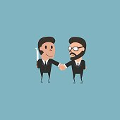 Hypocritical. Enemy in business. Business concept flat illustration.