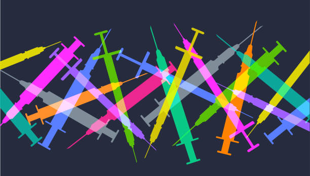 Hypodermic needles Colourful silhouettes of Hypodermic needles with drug users heroin stock illustrations