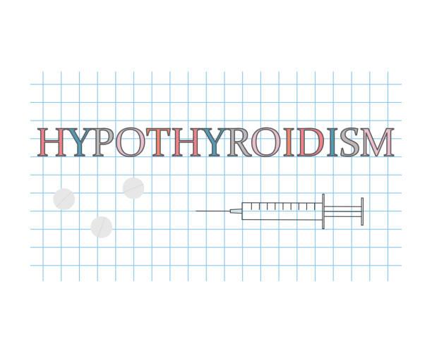 ilustraciones, imágenes clip art, dibujos animados e iconos de stock de palabra de hipotiroidismo en la hoja de papel a cuadros - thyroxine