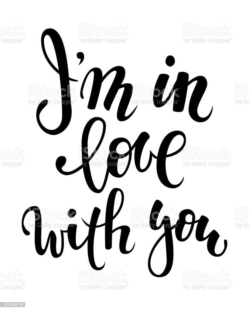 estoy en amor con usted. Mano dibuja caligrafía creativa y pluma del cepillo letras aisladas sobre fondo blanco. diseño de tarjeta de felicitación del día de fiesta y la invitación de la boda, día de San Valentín y feliz amor día. - ilustración de arte vectorial